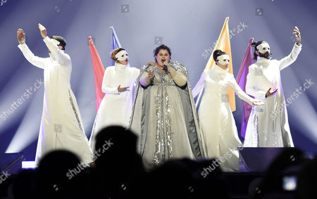 Singer Bojana Stamenov (c) Representing Serbia Performs During Rehearsals For the Grand Final of the 60th Annual Eurovision Song Contest (esc) at the Wiener Stadthalle in Vienna Austria 22 May 2015 the Grand Final Takes Place on 23 May Austria Vienna