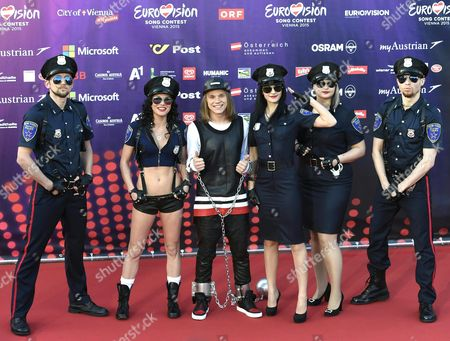 Singer Eduard Romanyuta (3-l) and His Band Representing Moldavia Pose on the Red Carpet While Arriving For the 'Opening Ceremony of the Eurovision Song Contest Week' at the Rathausplatz Square in Vienna Austria 17 May 2015 the Grand Final of the 60th Annual Eurovision Song Contest (esc) Will Take Place on 23 May Austria Vienna