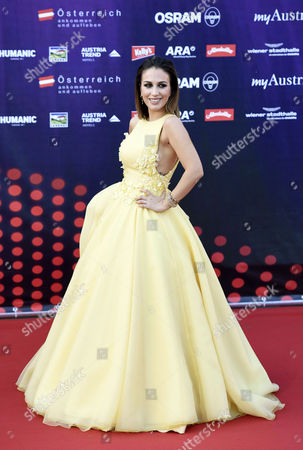 Singer Elhaida Dani Representing Albania Poses on the Red Carpet While Arriving For the 'Opening Ceremony of the Eurovision Song Contest Week' at the Rathausplatz Square in Vienna Austria 17 May 2015 the Grand Final of the 60th Annual Eurovision Song Contest (esc) Will Take Place on 23 May Austria Vienna