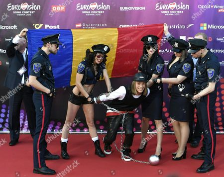 Singer Eduard Romanyuta (c) and His Band Representing Moldavia Pose on the Red Carpet While Arriving For the 'Opening Ceremony of the Eurovision Song Contest Week' at the Rathausplatz Square in Vienna Austria 17 May 2015 the Grand Final of the 60th Annual Eurovision Song Contest (esc) Will Take Place on 23 May Austria Vienna
