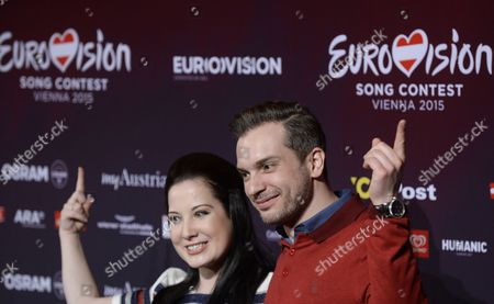 Stock Photo of Singers Bianca Nicholas (l) and Alex Larke of Duo 'Electro Velvet' Representing United Kingdom Pose at a Photocall of the 60th Annual Eurovision Song Contest (esc) in Vienna Austria 17 May 2015 the Esc 2015 Consists of Two Semi-finals Which Will Take Place on 19 and 21 May and a Grand Final Held on 23 May Austria Vienna