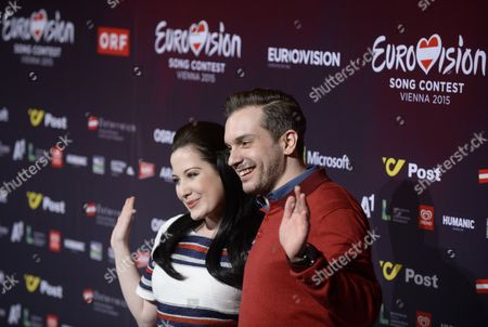 Stock Picture of Singers Bianca Nicholas (l) and Alex Larke of Duo 'Electro Velvet' Representing United Kingdom Pose at a Photocall of the 60th Annual Eurovision Song Contest (esc) in Vienna Austria 17 May 2015 the Esc 2015 Consists of Two Semi-finals Which Will Take Place on 19 and 21 May and a Grand Final Held on 23 May Austria Vienna