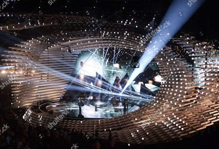 Elhaida Dani Representing Albania Performs During Rehearsals For the First Semi-final of the 60th Annual Eurovision Song Contest (esc) at the Wiener Stadthalle in Vienna Austria 18 May 2015 the Esc 2015 Consists of Two Semi-finals Which Take Place on 19 and 21 May and a Grand Final Held on 23 May Austria Vienna