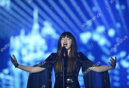 Stock Photo of Singer Leonor Andrade Representing Portugal Performs During Rehearsals For the Second Semi-final of the 60th Annual Eurovision Song Contest (esc) at the Wiener Stadthalle in Vienna Austria 20 May 2015 the Second Semi-final Takes Place on 21 May and the Grand Final on 23 May Austria Vienna