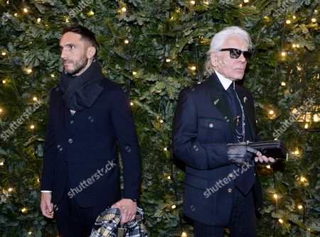 German Fashion Designer Karl Lagerfeld (r) and His French Bodyguard-turned-model Sebastien Jondeau (l) Arrive For a Dinner Hosted by Chanel in Salzburg Austria 01 December 2014 Austria Salzburg