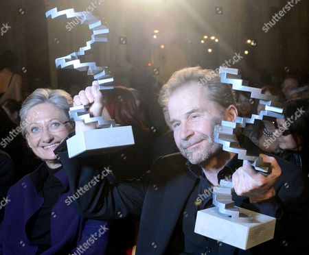 Austrian Director Ulrich Seidl (r) Holds His Awards For 'Best Director' and 'Best Feature Film' As Austrian Culutre Minister Claudia Schmied (l) Smiles at the Austrian Film Awards 2013 Ceremony in Vienna Austria 23 January 2013 Austria Vienna