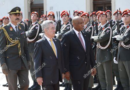 Austrian President Heinz Fischer and King Letsie Iii of Lesotho (r) Attend a Military Welcoming Ceremony at Vienna Hofburg Castle in Vienna Austria 24 April 2013 Austria Vienna