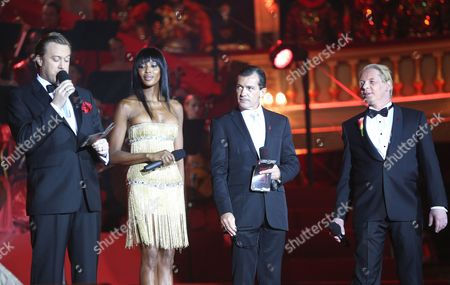 From L to R: Nicholas Ofczarek Naomi Campbell Antonio Banderas and Ben Becker During Pening Ceremony at the Vienna Life Ball 2012 in Vienna's Town Hall Square Vienna Austria 19 May 2012 the Life Ball in Vienna is a Charity Event Supporting People with Hiv Or Aids Austria Vienna