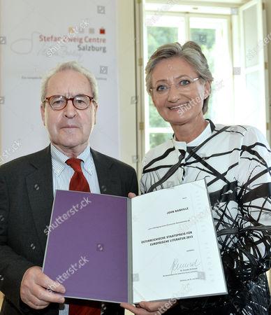 Irish Writer John Banville (l) Receives the Austrian State Award For European Literature 2013 by Austrian Minister Claudia Schmied (r) in Salzburg Austria 25 July 2013 Austria Salzburg