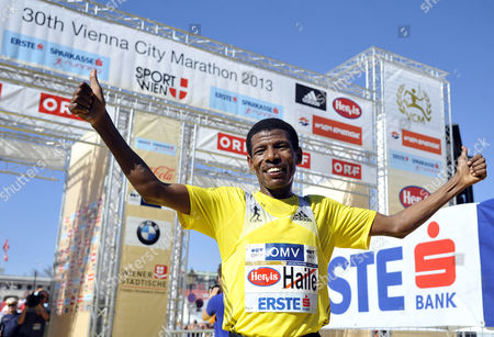 Ethiopian Haile Gebrselassie Celebrates After Winning the Vienna City Half Marathon During the 30th Vienna City Marathon 2013 in Vienna Austria 14 April 2013 Austria Vienna