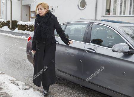 Stock Photo of Widow of Austrian-swiss Actor Maximilian Schell Iva Mihanovic Leaves After the Memorial Ceremony For Her Husband Late Maximilian Schell in His Hometown Preitenegg Austria 08 February 2014 Maximilian Schell Died After a Surgery on 01 February 2014 Austria Preitenegg