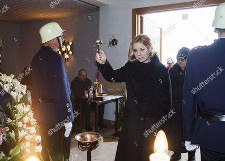 Widow of Austrian-swiss Actor Maximilian Schell Iva Mihanovic is Picured During the Memorial Ceremony For Her Husband Late Maximilian Schell in His Hometown Preitenegg Austria 08 February 2014 Maximilian Schell Died After a Surgery on 01 February 2014 Austria Preitenegg