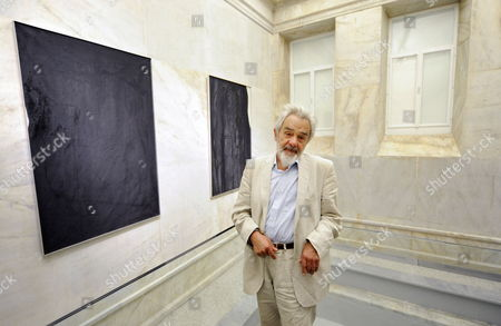 Austrian Artist Arnulf Rainer Poses in Front of His Artwork During the Opening Event of the Arnulf Rainer Museum in Baden Austria 25 September 2009 Austria Baden