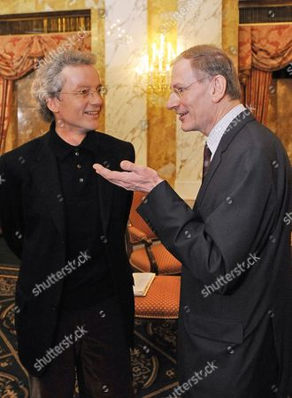 Austrian Conductor Franz Welser-moest (l) and Vienna Philharmonic Chairman Clemens Hellsberg (r) Chat During a Press Conference in Vienna Austria 27 December 2010 Welser-moest Will Conduct the Annual Vienna Philharmonic New Year's Concert on 01 January 2011 Austria Vienna