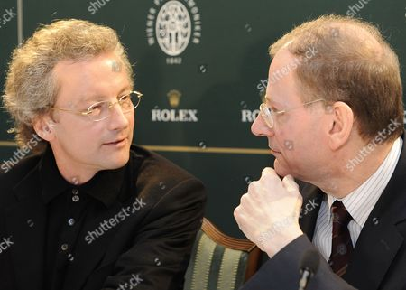 Austrian Conductor Franz Welser-moest (l) and Vienna Philharmonic Chairman Clemens Hellsberg (r) Attend a Press Conference in Vienna Austria 27 December 2010 Welser-moest Will Conduct the Annual Vienna Philharmonic New Year's Concert on 01 January 2011 Austria Vienna