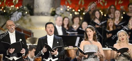 (l-r) Danish Baritone Bo Skovhus Polish Tenor Piotr Beczala French Mezzo-soprano Sophie Koch and Russian Soprano Julia Novikova Perform on Stage During a Public Preview of the Concert 'Christmas in Vienna' at the Concert- Hall in Vienna Austria 20 December 2012 the Concert of the Vienna Radio Symphony Orchestra the 'Wiener Singakademie' Choir and the 'St Florianer Saengerknaben' Choir Will Take Place on 21 December Austria Vienna