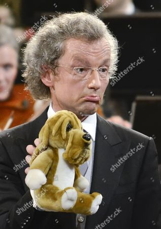Austrian Conductor Franz Welser-most Shows a Soft Toy During the Vienna Philharmonic New Year's Concert 2013 at the Musikverein in Vienna Austria 01 January 2013 the Traditional Concert Takes Place Every Year on the Morning of 01 January Austria Vienna