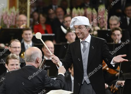 Austrian Conductor Franz Welser-most (r) Performs During the Vienna Philharmonic New Year's Concert 2013 at the Musikverein in Vienna Austria 01 January 2013 the Traditional Concert Takes Place Every Year on the Morning of 01 January Austria Vienna