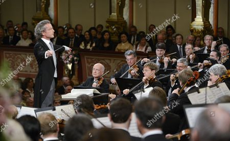 Austrian Conductor Franz Welser-most (l) Performs During the Vienna Philharmonic New Year's Concert 2013 at the Musikverein in Vienna Austria 01 January 2013 the Traditional Concert Takes Place Every Year on the Morning of 01 January Austria Vienna