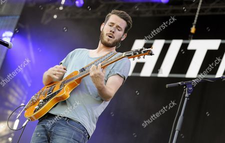 Stock Image of Singer and Guitarist Johannes Strate of the German Band Revolverheld Performs During a Concert at the 31st Danube Island Festival in Vienna Austria 27 June 2014 the Festival Runs From 27 to 29 June Austria Vienna