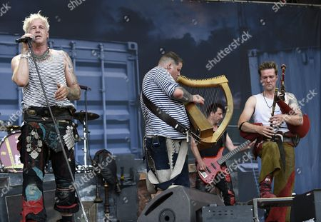 German Singer Michael Robert Rhein (l) Aka Das Letzte Einhorn of the Band 'In Extremo' Performs on the Red Stage During a Concert at the Nova Rock 2015 Festival in Nickelsdorf Austria 13 June 2015 the Event Runs From 12 to 14 June Austria Nickelsdorf