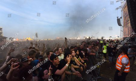 Stock Photo of Visitors During a Concert of the Band 'In Extremo' on the 'Red Stage' at the Nova Rock 2015 Festival in Nickelsdorf Austria 13 June 2015 the Event Runs From 12 to 14 June Austria Nickelsdorf