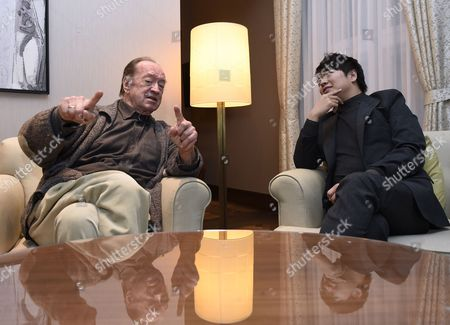 Stock Picture of A Picture Made Available on 03 November 2014 Shows Austrian Conductor Nikolaus Harnoncourt (l) and Chinese Pianist Lang Lang Chatting During an Interview in Vienna Austria 02 November 2014 Lang Lang and Harnoncourt Have Worked Together on an Album Called 'The Mozart Album' Harnoncourt Will Celebrate His 85th Birthday on 06 December Austria Vienna