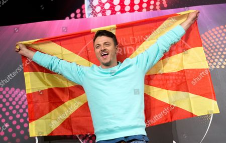 Singer Daniel Kajmakoski Representing Macedonia in the Eurovision Song Contest Esc Poses During a Press Conference in Vienna Austria 11 May 2015 the Final Show of the Esc Will Take Place in Vienna on 23 May Austria Vienna