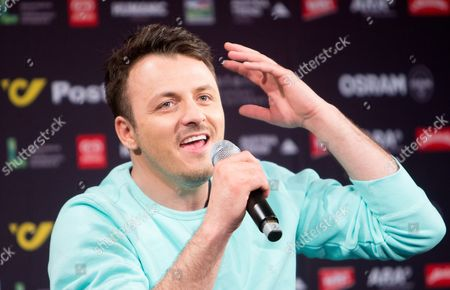 Singer Daniel Kajmakoski Representing Macedonia in the Eurovision Song Contest Esc Speaks During a Press Conference in Vienna Austria 11 May 2015 the Final Show of the Esc Will Take Place in Vienna on 23 May Austria Vienna