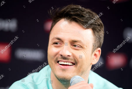 Singer Daniel Kajmakoski Representing Macedonia in the Eurovision Song Contest Esc Smiles During a Press Conference in Vienna Austria 11 May 2015 the Final Show of the Esc Will Take Place in Vienna on 23 May Austria Vienna