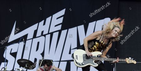 Singer and Bassist Charlotte Cooper of British Band 'The Subways' Performs During a Concert at the 'Frequency 2014' Festival in St Poelten Austria 16 August 2014 the Festival Runs From 13 to 16 August Austria St. Poelten