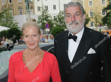 Austrian Actress Christiane Hoerbiger (l) and Gerhard Toetschinger Arrive For the Opera Premiere of 'Don Giovanni' at the Salzburg Festival 2014 in Salzburg Austria 27 July 2014 Austria Salzburg