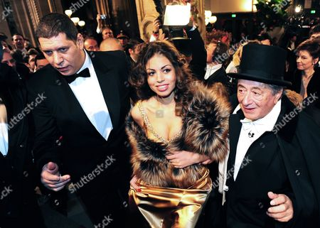 Moroccan Karima El-marough Aka Ruby Rubacuore (c) and Host Austrian Businessman Richard Lugner (r) Arrive For the Vienna State Opera Ball 2011 in Vienna Austria 03 March 2011 the Traditional Vienna Opera Ball Takes Place on 03 March Austria Vienna