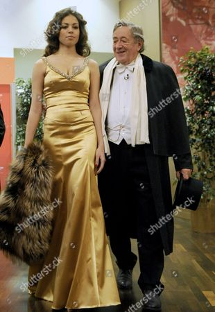 Moroccan Karima El-marough Aka Ruby Rubacuore and Host Austrian Businessman Richard Lugner (r) Arrive at the Presentation of the Ball Gowns at the Vienna State Opera in Vienna Austria 03 March 2011 the Traditional Vienna Opera Ball Takes Place on 03 March Austria Vienna