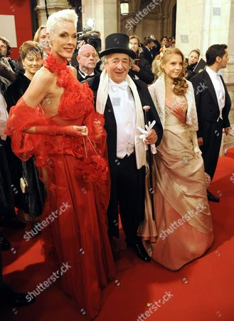 Stock Picture of (l-r) Danish Actress Brigitte Nielsen Buisnessman Richhard Lugner and His Girlfriend Anastasia 'Katzi' Sokol Arrive For the Opera Ball 2012 at the Vienna State Opera in Vienna Austria 16 February 2012 Austria Vienna