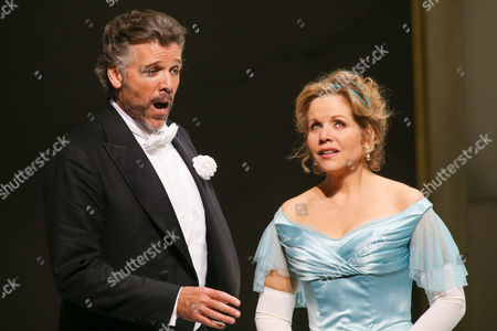 A Picture Made Available on 11 April 2014 Shows Us Bariton Thomas Hampson (l) As Mandryka and Compatriot Soprano Renee Fleming (r) As Arabella Performing During the Rehearsal of Johann Strauss' Opera 'Arabella' in Salzburg Austria 08 April 2014 the Opera Will Premiere on 12 April in the Course of the Easter Festival Salzburg Austria Salzburg