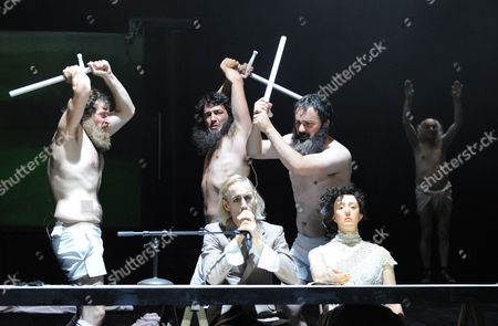 A Picture Made Available on 19 August Shows Arieh Worthalter As 'Bachelor 3' Vincent Minne As 'Bachelor 1' Yves-noel Genode As 'The Creature' Fabien Dehasseler As 'Bachelor 2' and Hedydd Dylan As 'Mary Shelley' (l-r) Performing During the Photo Rehearsal of Mary Mother of Frankenstein at the Salzburg Festival in Salzburg Austria 18 August 2010 the Opera Premiere Takes Place on 19 August 2010 Austria Salzburg