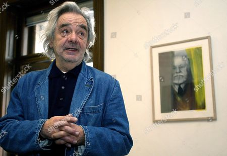 Austrian Painter Arnulf Rainer Looks on at a Press Conference on the Exhibition 'Rainer Ueber Freud Overpaintings of Sigmund Freud Portraits' in Vienna Wednesday 23 November 2006 Austria Vienna
