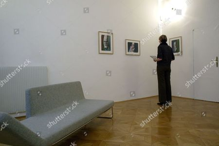 A Visitor Looks at Paintings by Austrian Painter Arnulf Rainer at the Exhibition 'Rainer Ueber Freud Overpaintings of Sigmund Freud Portraits' in Vienna Wednesday 23 November 2006 Austria Vienna