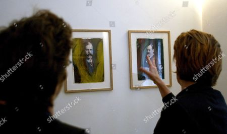 Visitors Look at Paintings by Austrian Painter Arnulf Rainer at the Exhibition 'Rainer Ueber Freud Overpaintings of Sigmund Freud Portraits' in Vienna Wednesday 23 November 2006 Austria Vienna