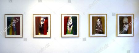 Paintings by Austrian Painter Arnulf Rainer at the Exhibition 'Rainer Ueber Freud Overpaintings of Sigmund Freud Portraits' in Vienna Wednesday 23 November 2006 Austria Vienna