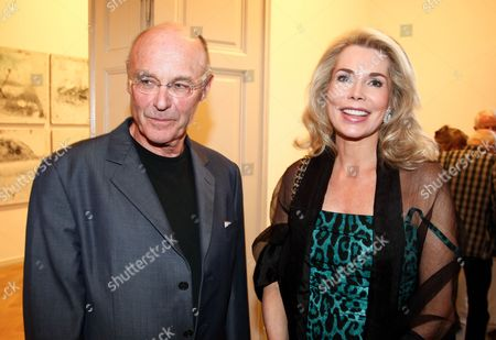 German Artist Anselm Kiefer and Inaara Begum Aga Khan Are Pictured During the Vernissage of the New Series 'Aklahest' by Anselm Kiefer at Galerie Ropac in Salzburg Austria 28 July 2011 Austria Salzburg