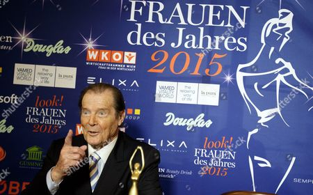 British Actor Sir Roger Moore Attends a Press Conference Prior the Gala Evening Event 'Look! Women of the Year Awards 2015' in Vienna Austria 17 November 2015 Around 700 Guests Are Expected to Attend the Event Austria Vienna