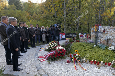 Austrian State Carinthia's Governor Peter Kaiser (l) and Other Members of the Provincial Government During a Wreath Ceremony on the Occasion of the Fifth Anniversary of the Death of Joerg Haider at Feistritz Im Rosental Austria 11 October Joerg Haider Carinthia's Governor at the Time Died in a Car Crash Five Years Ago Austria Feistritz