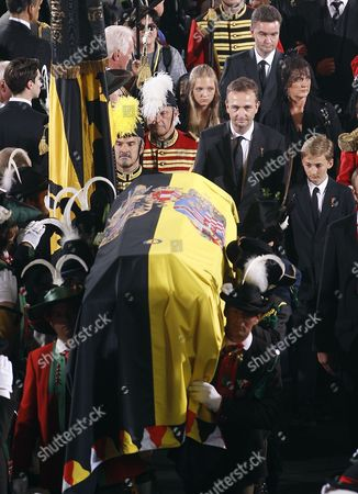 The Funeral Procession with Karl Francesca and Georg Von Habsburg Behind Otto Habsburg's Coffin During His Funeral at the Stephansdom Cathedral in Vienna Austria 16 July 2011 Otto Von Habsburg was the Oldest Son of Charles i the Last Emperor of Austria and Died at the Age of 98 on 04 July 2011 in His Home in Poecking Germany He and His Wife Regina who Died in 2010 Will Be Buried in the Kaputzinergruft (imperial Crypt) Below the Capuchin Church on 16 July in Accordance with a Habsburg Tradition His Heart Will Be Taken to the Abbey of Pannonhalma Some 50km West of Budapest Hunagry on 17 July Epa/helmut Fohringer Austria Vienna