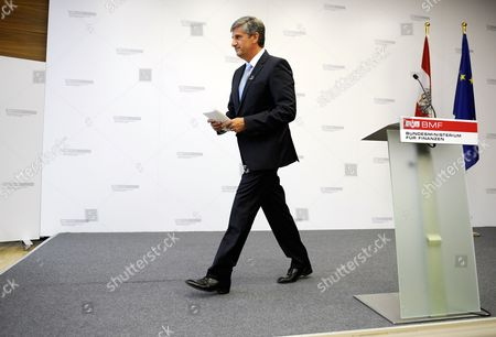 Austrian Finance Minister and Vice Chancellor Michael Spindelegger Leaves After a News Conference Announcing His Resignation in Vienna Austria 26 August 2014 Spindelegger Said He Resigned As He Felt Lack of Loyalty and Support After Persistent Criticism From His People's Party in the Current Tax Reform Debate Austria Vienna