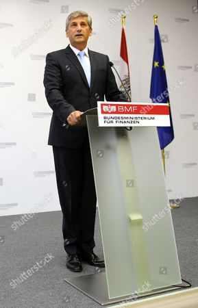 Austrian Finance Minister and Vice Chancellor Michael Spindelegger Speaks During a News Conference Announcing His Resignation in Vienna Austria 26 August 2014 Spindelegger Said He Resigned As He Felt Lack of Loyalty and Support After Persistent Criticism From His People's Party in the Current Tax Reform Debate Austria Vienna