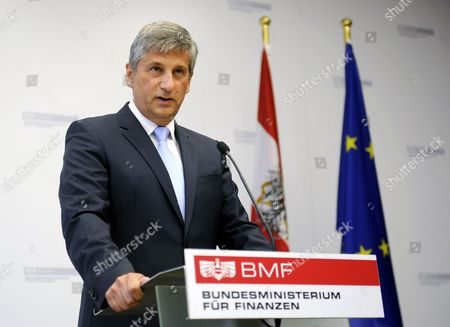 Stock Image of Austrian Finance Minister and Vice Chancellor Michael Spindelegger Speaks During a News Conference Announcing His Resignation in Vienna Austria 26 August 2014 Spindelegger Said He Resigned As He Felt Lack of Loyalty and Support After Persistent Criticism From His People's Party in the Current Tax Reform Debate Austria Vienna