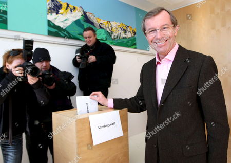 Wilfried Haslauer Austrian People's Party (oevp) Canditate For the Salzburg Regional Parliament Casts His Ballot During the Elections in Salzburg Austria 01 March 2009 the Party of Late Austrian Far-right Leader Joerg Haider Alliance For the Future of Austria (bzoe) Faced a Key Test Sunday As Voters in His Stronghold Province of Carinthia Cast Their Ballots For the Regional Parliament For the First Time Since His Death Austria Salzburg