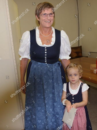 Bzoe Candidate Ursula Haubner (sister of Late Joerg Haider) Arrives with Her Granddaughter Hedda As She Prepares to Vote in Upper Austrian Regional Elections in Linz Austria on 27 September 2009 Austria Bad Hall